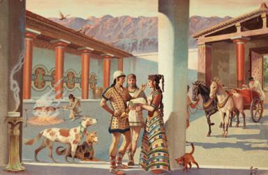 Scene in a Mycenaean palace.