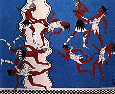 Mycenaean warriors wearing kilts, from a wall painting in the Pylos museum. Source unknown
