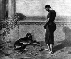 Odysseus and his dog Argos. Artist unknown