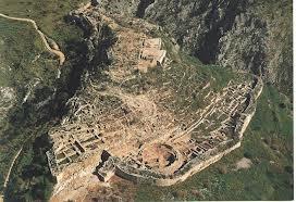 Mykenai citadel ruins from the air. www.pbworks.com