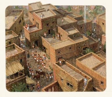 An artist depicts the Bronze Age Greek town of Akrotiri.