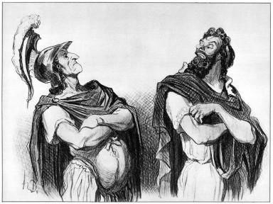 Agamemnon and Achilles quarrel. A print by Honoré Victorin Daumier, Physionomies Tragiques, 1851