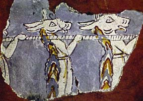 Mycenaean wall painting showing fantastical creatures