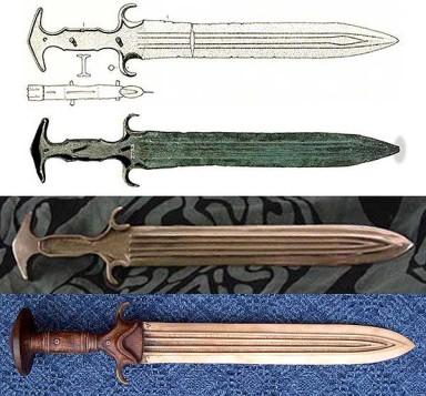 The British Museum dagger ©The Trustees of the British Museum, and the Mycenaean short sword reconstruction