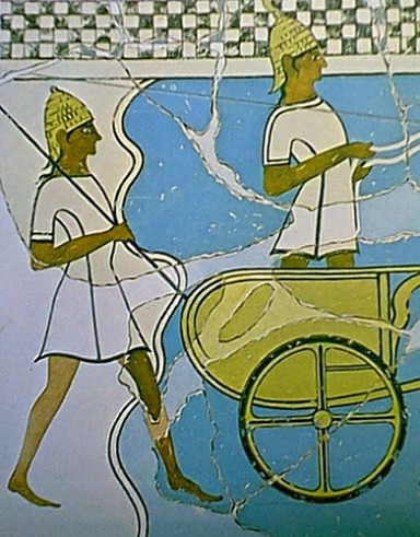 Mycenaean charioteer and spearman, from a wall painting. www.multiforums.gr