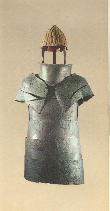 Dendra bronze plate armour and boar's tusk helmet, George E. Mylonas Mycenae Rich in Gold