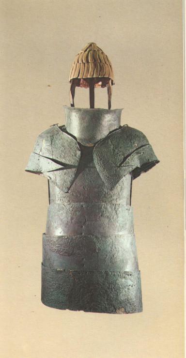 Dendra bronze plate armour and boar's tusk helmet, George E. Mylonas Mycenae Rich in Gold