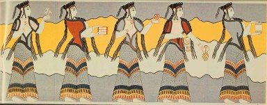 Mycenaean women's costumes, from a wall painting. Source unknown