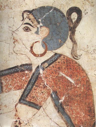 Painting of a girl. Wall paintings of Thera, Kristos Etoumas