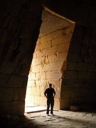 Alan in doorway of Atreus tholos tomb 2