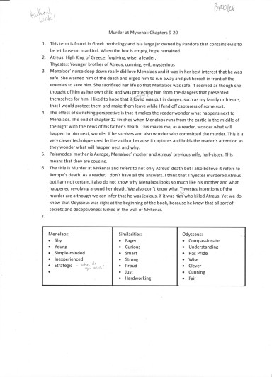 Murder at Mykenai class assessment 3